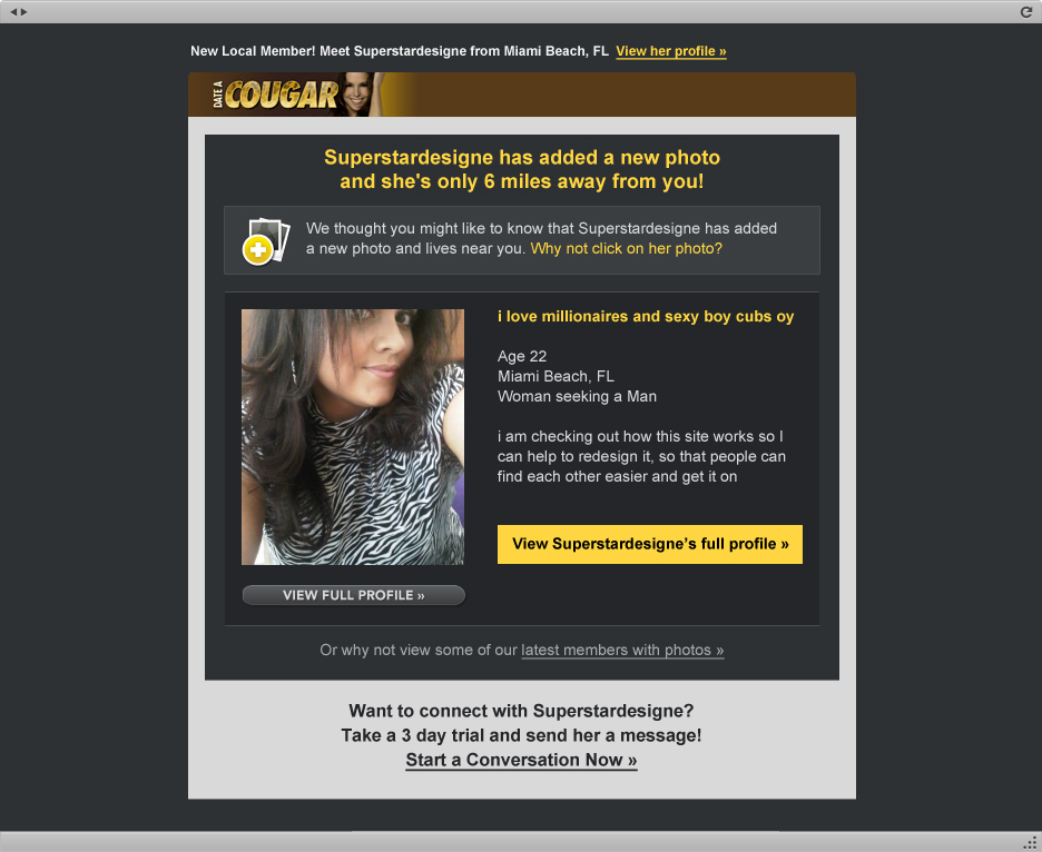 Unsolicited spam email from dating sites